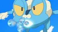 Froakie usando burbuja.