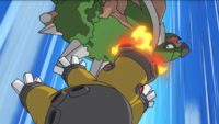 Hippowdon usando colmillo ígneo.
