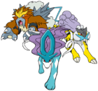 Raikou, Entei y Suicune (dream world).png