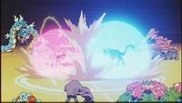 Mewtwo usando barrera contra Mew.