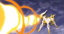 Arceus usando lanzallamas.