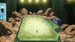 Campo de batalla del Gimnasio de Relieve en el anime