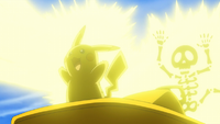 Pikachu de Ash usando rayo.