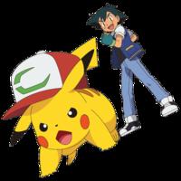 Pikachu con gorra P20 y Ash.png