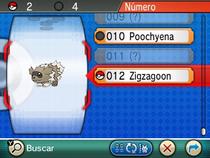 Entrada de Zigzagoon en la Pokédex.