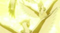 Pikachu usando rayo sobre los Tranquill salvajes.