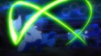 Sceptile de Sawyer/Sabino usando hoja aguda sobre el Blastoise de Tierno/Benigno.