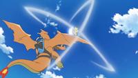Charizard usando golpe aéreo.