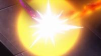Lanzallamas del Mega-Houndoom de Malva impactando con el hiperrayo del Mega-Gyarados de Lysandre/Lysson.