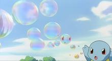 Squirtle de Ash usando burbuja.