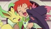EP645 Leafeon y Mismagius junto a Zoe, tras ganar a Nando.jpg